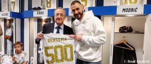 ريال مدريد يحتفل بالمباراة 500 للمهاجم الفرنسي كريم بنزيما