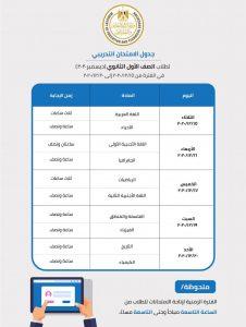 جدول الامتحانات للصف الأول الثانوي