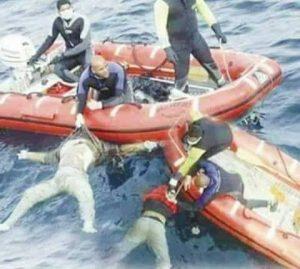 محاولات انقاذ غرقى عبارة السلام