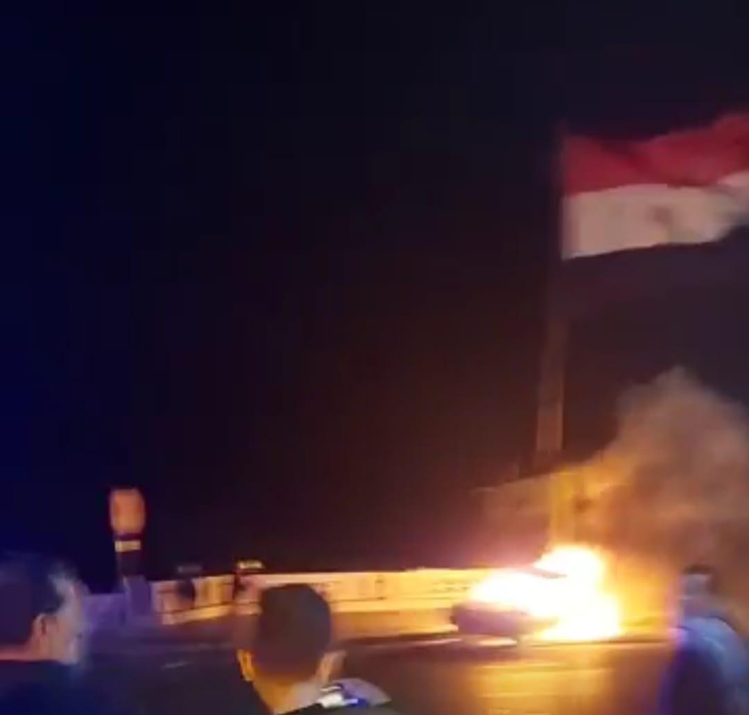 اشتعال النيران في سيارة بالاسكندرية