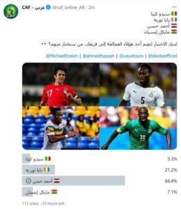 استفتاء كاف لافضل لاعب وسط في افريقيا
